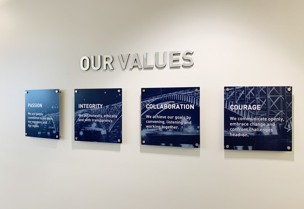Aluminum prints with Buffalo Niagara's Values mounted on 3D posts. Machined aluminum was used to create the Values heading.
