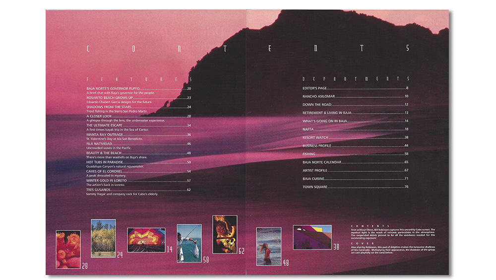 Table of contents from Baja Life volume one, issue one.